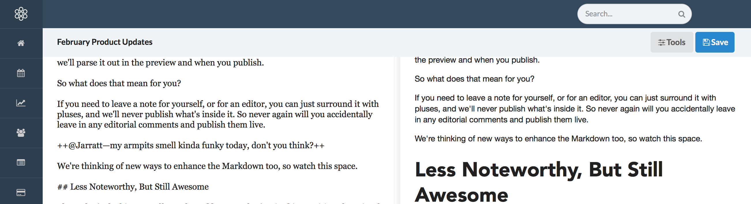 Leave inline editorial comments with Contentacle's Markdown comment syntax